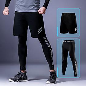 Men's Running Tights Running Shorts Sports Shorts Tights Bottoms Running Fitness Jogging Training Breathable Quick Dry Moisture Wicking Letter Dark Grey Black