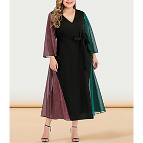 Women's Plus Size Maxi A Line Dress - Long Sleeve Color Block Solid Color Patchwork V Neck Casual Sophisticated Daily Going out Flare Cuff Sleeve Black L XL XX
