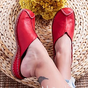 Women's Clogs  Mules 2020 Flat Heel Round Toe PU Casual / Minimalism Spring   Fall / Spring  Summer Red / Blue / White