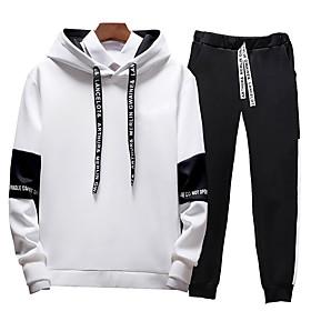 Men's Activewear Set Solid Colored Hooded Sports  Outdoors Basic Hoodies Sweatshirts  Slim White Black Gray
