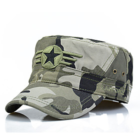 Men's Work Cotton Baseball Cap Sun Hat Military Hat-Solid Colored Camouflage Stylish Green Black Army Green