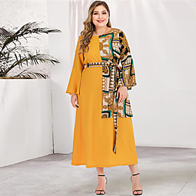 Women's A-Line Dress Maxi long Dress - Long Sleeve Geometric Solid Color Patchwork Print Spring  Summer Fall  Winter Plus Size Casual Streetwear Flare Cuff Sle