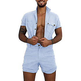 Men's Basic Army Green Blue Black Romper Onesie, Solid Colored US36 / UK36 / EU44 US38 / UK38 / EU46 US42 / UK42 / EU50