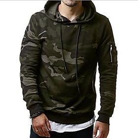 Men's Hoodie Camo / Camouflage Hooded Casual Hoodies Sweatshirts  Green Gray