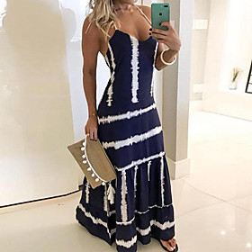 Women's Sundress Maxi long Dress - Sleeveless Tie Dye Print Summer V Neck Plus Size Holiday Beach 2020 Red Yellow Navy Blue S M L XL XXL 3XL 4XL 5XL