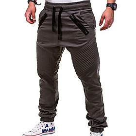 Men's Basic Loose Jogger Pants Solid Colored White Black Khaki US34 / UK34 / EU42 US36 / UK36 / EU44 US38 / UK38 / EU46