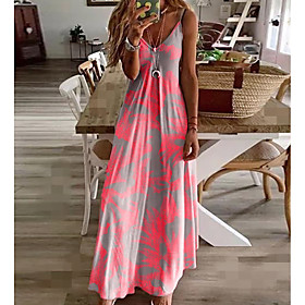 Women's Sundress Maxi long Dress - Sleeveless Floral Print Summer V Neck Casual Hot Holiday Beach 2020 Fuchsia M L XL XXL 3XL 4XL 5XL