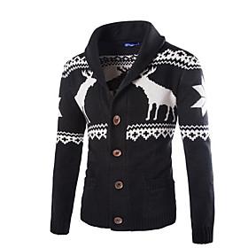 Men's Color Block Cardigan Long Sleeve Sweater Cardigans V Neck Black