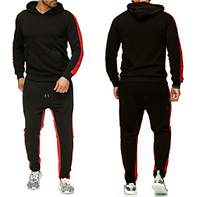 Men's Activewear Set Solid Colored Hooded Sports  Outdoors Basic Hoodies Sweatshirts  Slim White Black Red
