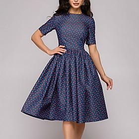 Women's A Line Dress - Short Sleeves Polka Dot Navy Blue S M L XL XXL