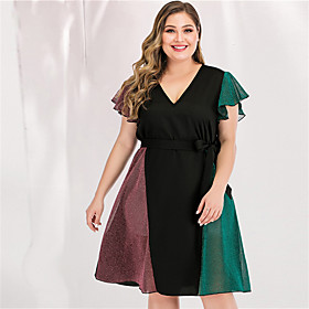 Women's Plus Size Maxi A Line Dress - Long Sleeve Color Block Solid Color Bow Patchwork Spring  Summer V Neck Casual Elegant Daily Going out Flare Cuff Sleeve