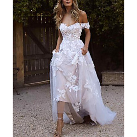 A-Line Wedding Dresses Off Shoulder Sweep / Brush Train Lace Short Sleeve Country Plus Size with Lace Embroidery 2020