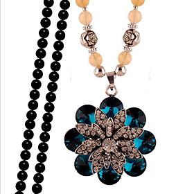 Women's Blue Multicolor Cubic Zirconia Long Necklace Classic Flower Shape Simple Classic Fashion Chrome Blue Rainbow Colorful Dragon 80 cm Necklace Jewelry 1pc