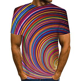 Love wins Men's Daily Weekend Basic / Exaggerated T-shirt - Color Block / Rainbow / Abstract Print Rainbow
