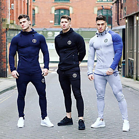 Men's 2-Piece Full Zip Tracksuit Sweatsuit Jogging Suit Winter Running Fitness Gym Workout Breathable Quick Dry Moisture Wicking Sportswear Plus Size Clothing
