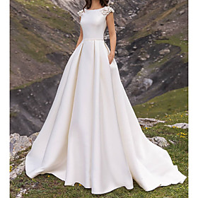A-Line Wedding Dresses Jewel Neck Sweep / Brush Train Satin Cap Sleeve Country Plus Size with Appliques Side-Draped 2020