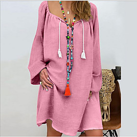 Women's Shift Dress - Long Sleeve Solid Color Loose Black Blushing Pink Gray Light Blue S M L XL XXL XXXL