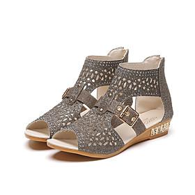 Women's Sandals 2020 Wedge Heel Open Toe Rhinestone Faux Leather Casual Summer Gold / Black / Beige