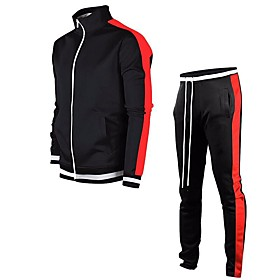 Men's 2-Piece Full Zip Tracksuit Sweatsuit Jogging Suit Casual Long Sleeve 2pcs Front Zipper Breathable Quick Dry Soft Fitness Gym Workout Performance Running