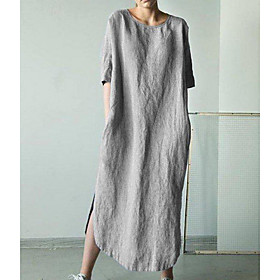 Women's Loose Maxi long Dress - Half Sleeve Solid Color Loose Black Khaki Green Dark Gray Gray Light Blue S M L XL XXL 3XL 4XL 5XL