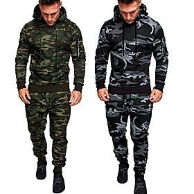 Men's 2-Piece Tracksuit Sweatsuit Jogging Suit 2pcs Winter Pullover Running Active Training Fitness Thermal / Warm Breathable Moisture Wicking Sportswear Athle