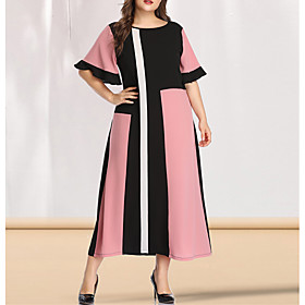 Women's A-Line Dress Maxi long Dress - Short Sleeve Color Block Solid Color Patchwork Spring  Summer Plus Size Casual Elegant Going out Flare Cuff Sleeve Blush