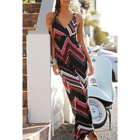 Women's Maxi Sheath Dress - Sleeveless Print V Neck Slim Black S M L XL XXL