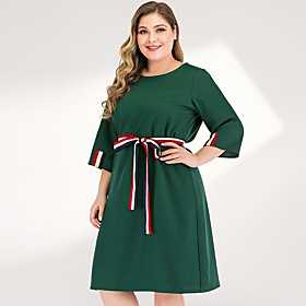 Women's Plus Size Maxi A Line Dress - 3/4 Length Sleeve Solid Color Spring  Summer Elegant Street chic Going out Flare Cuff Sleeve Green L XL XXL XXXL