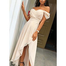 Women's Asymmetrical Swing Dress - Short Sleeves Polka Dot Off Shoulder V Neck Beige S M L XL