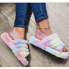 Women's Slippers  Flip-Flops Fuzzy Slippers Summer Flat Heel Open Toe Daily Cotton Black / Fuchsia / Pink