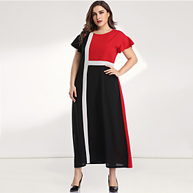 Women's A-Line Dress Maxi long Dress - Long Sleeve Black  Red Color Block Solid Color Patchwork Plus Size Casual Elegant Going out Flare Cuff Sleeve Loose Red