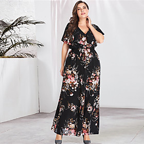 Women's A-Line Dress Maxi long Dress - Long Sleeve Floral Print Spring  Summer V Neck Plus Size Streetwear Boho Going out Flare Cuff Sleeve Black XL XXL 3XL 4X