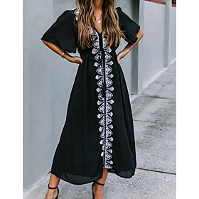 Women's A-Line Dress Midi Dress - Short Sleeve Floral V Neck Loose Black One-Size