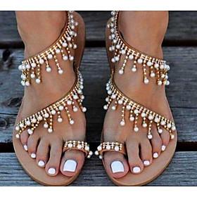 Women's Sandals Flat Sandal Tropezienne Sandals Summer Flat Heel Open Toe Boho Daily Beach PU Gold