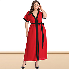 Women's A-Line Dress Maxi long Dress - Short Sleeve Color Block Solid Color Pleated Patchwork V Neck Plus Size Casual Sexy Flare Cuff Sleeve Loose Red Blushing