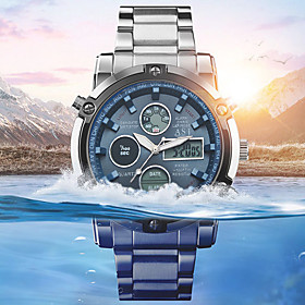 Men's Steel Band Watches Quartz Outdoor Water Resistant / Waterproof Analog - Digital Black Blue Silver / Two Years / Stainless Steel / Chronograph / Noctiluce