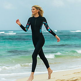 SBART Women's Rash Guard Dive Skin Suit Patchwork Padded Sun Shirt Bodysuit Swimwear Black UV Sun Protection Breathable Quick Dry Long Sleeve - Swimming Surfin