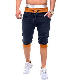 Men's Basic Slim Cotton Shorts Pants Multi Color Drawstring Black Navy Blue Gray US36 / UK36 / EU44 US38 / UK38 / EU46 US40 / UK40 / EU48