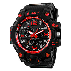 Men's Sport Watch Fashion Watch Dress Watch Digital Charm Water Resistant / Waterproof Analog - Digital Black Yellow Red / Quilted PU Leather / Calendar / date