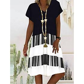 Women's A-Line Dress Knee Length Dress - Short Sleeve Striped Color Block Print Summer V Neck Casual Holiday 2020 Black Orange S M L XL XXL 3XL 4XL 5XL