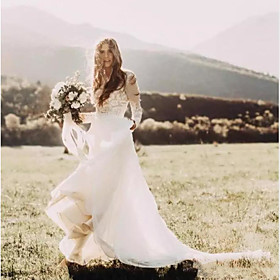 A-Line Wedding Dresses Jewel Neck Court Train Polyester Long Sleeve Country Plus Size with Lace Insert Appliques 2020