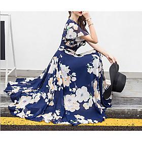 Women's Maxi Swing Dress - Short Sleeves Floral V Neck Fuchsia Royal Blue Beige M L XL XXL XXXL XXXXL XXXXXL