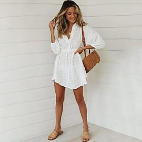Women's A-Line Dress 3/4 Length Sleeve Solid Color Summer V Neck Streetwear 2020 White S M