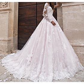 A-Line Wedding Dresses Jewel Neck Sweep / Brush Train Lace Tulle Polyester Long Sleeve Country Plus Size with Lace Embroidery 2020