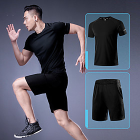 Men's 2-Piece Activewear Set Workout Outfits Athletic Short Sleeve Breathable Quick Dry Soft Fitness Gym Workout Running Active Training Jogging Sportswear Sol