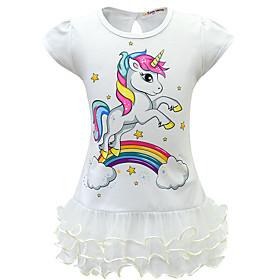 Kids Girls' Active Sweet Unicorn Patchwork Cartoon Layered Mesh Short Sleeve Above Knee Dress Purple