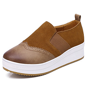 Women's Sneakers Flat Heel Round Toe Suede / PU Casual / Preppy Walking Shoes Fall / Spring  Summer Brown / Black