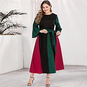 Women's Sheath Dress Maxi long Dress - Long Sleeve Color Block Solid Color Patchwork Basic Plus Size Casual Streetwear Going out Flare Cuff Sleeve Red L XL XXL
