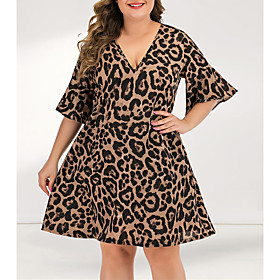 Women's A-Line Dress Short Mini Dress - 3/4 Length Sleeve Leopard Pleated Patchwork V Neck Plus Size Casual Flare Cuff Sleeve Yellow L XL XXL 3XL 4XL