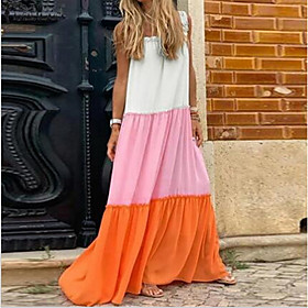 Women's Maxi Shift Dress - Sleeveless Color Block Strap Loose Purple Yellow Blushing Pink M L XL XXL XXXL XXXXL XXXXXL